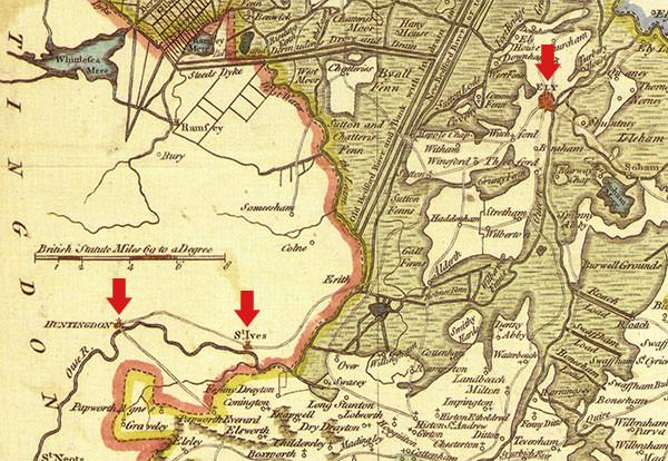 Detail of a map dated 1648 showing the locations of (L-R) Huntingdon, St Ives and Ely.