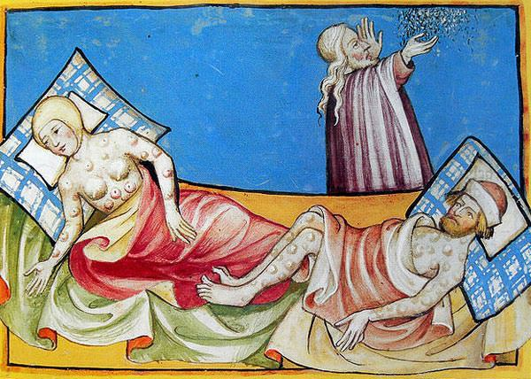 A depiction of victims of the Black Death from the Toggenburg Bible (1411).