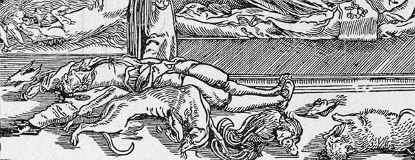 There were human and animal victims of the Black Death (detail from 16th century woodcut, unknown German artist).