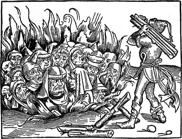 A woodcut depicting Jews, wrongly accused of deliberately spreading plague, being burned to death during a religious pogrom.