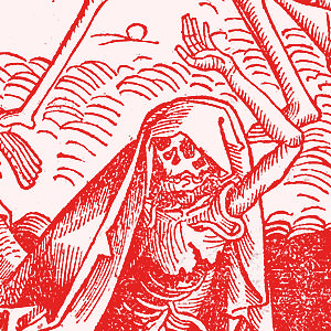 Woodcut depicting the Dance of Death