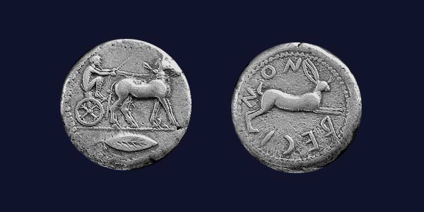 Front and rear faces of a Bruttium, Rhegion coin dating from circa 478-476 BC