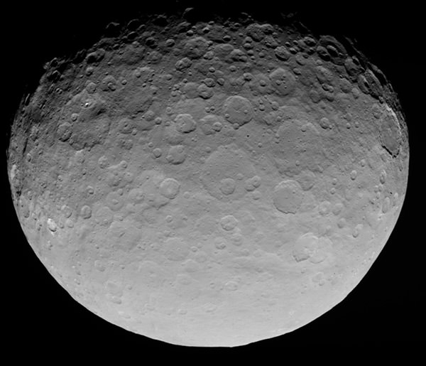 The dwarf planet Ceres, the largest body in the Asteroid Belt