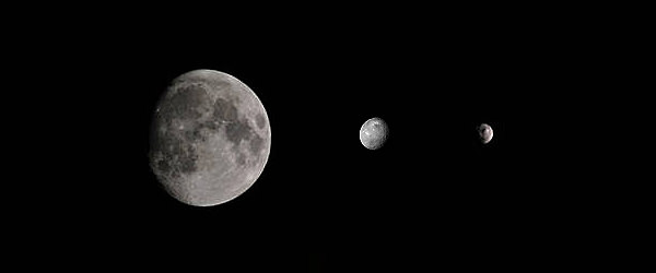 Scale of asteroids Ceres and Vesta compared to our Moon