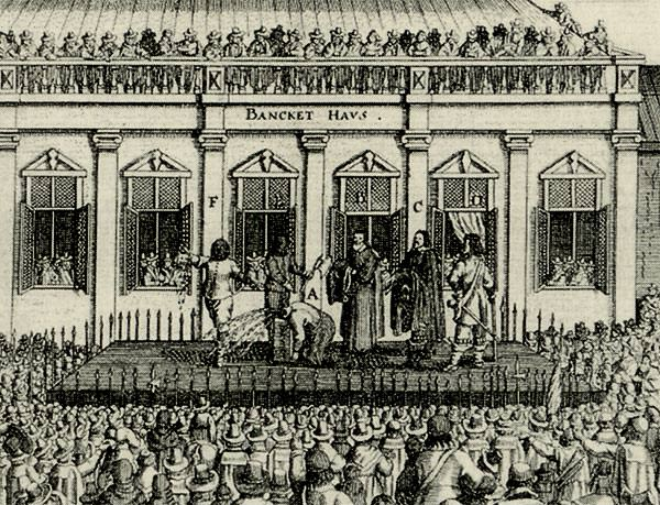 Contemporary engraving showing the execution of Charles I outside the Banqueting House, Whitehall (detail).