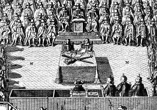 Contemporary engraving showing Charles I sitting before the High Court of Justice, from 'Nalson's Record of the Trial of Charles I' (detail).