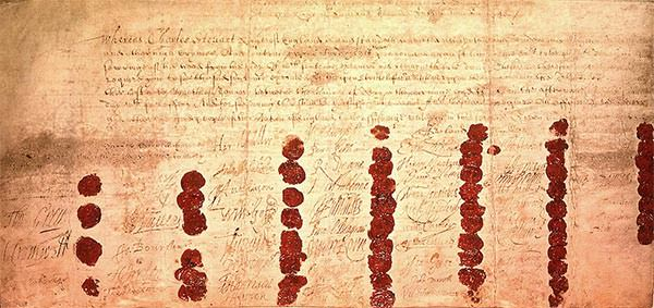 The death warrant of Charles I, showing the wax seals of the 59 signatories.
