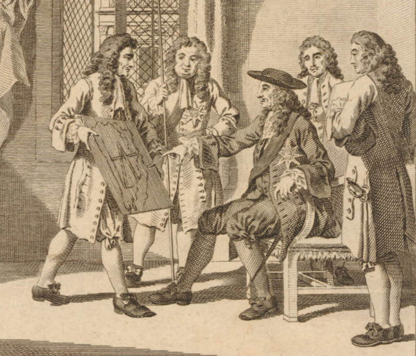 Detail from an engraving depicting Christopher Wren presenting his plan for rebuilding London to King Charles II