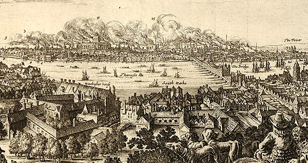 Detail from an engraving depicting the Great Fire seen from the south, with people on a hill looking across Southwark and the Thames to the burning city, by Justus Danckertsz, 1666