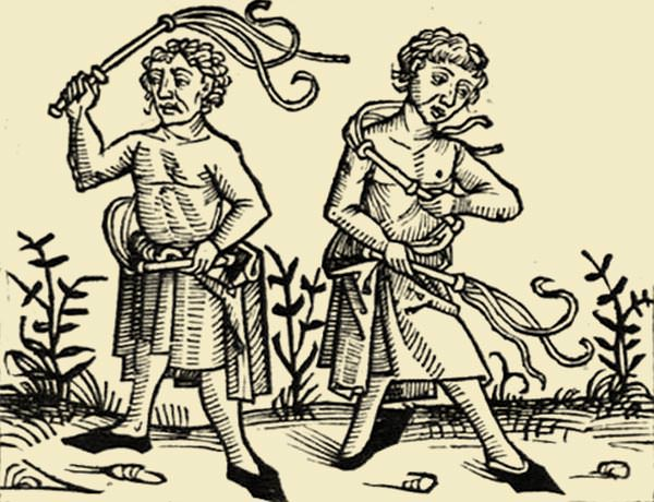 Flagellants depicted in a fifteenth century woodcut.