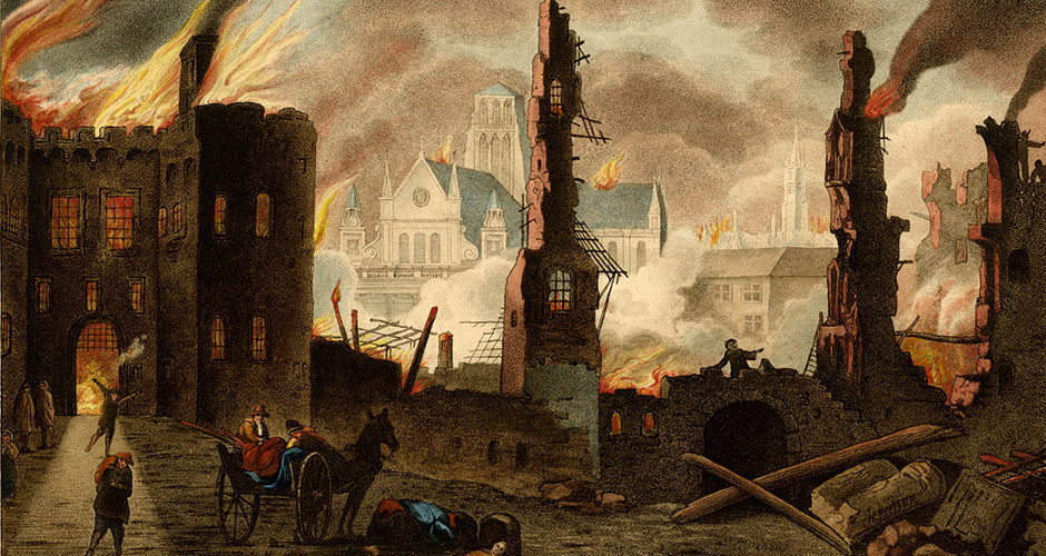 Ludgate burning in the Great Fire of London, with St Paul's Cathedral in the background. Detail from a hand-coloured etching by William Russell Birch, 1792