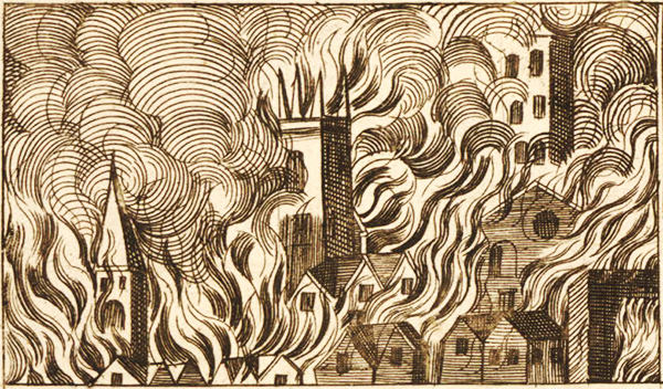 Depiction of the Great Fire of London, from a broadside titled the 'Popish Damnable Plot', 1680