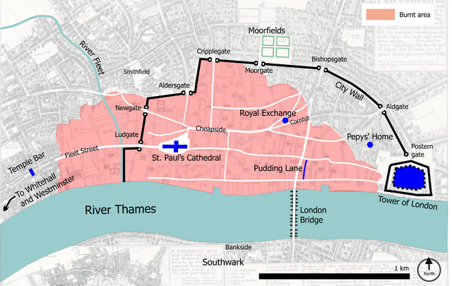The area affected by the fire, overlaid on a map showing the City walls, gates, and locations of Pudding Lane, Pepys home, St Pauls Cathedral, and Moorfields.