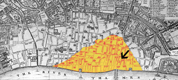 Map showing the extent of the fire at the close of Monday (arrow points to Pudding Lane, where the fire started)