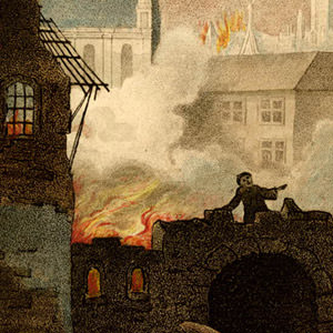 Ludgate burning in the Great Fire of London, with St Pauls Cathedral seen in the background. Hand-coloured etching by William Russell Birch, 1792