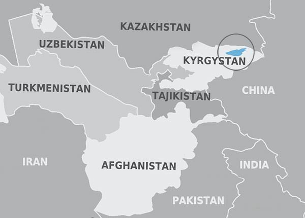 Map showing the location of Issyk Kul in eastern Kyrgyzstan, the area where the Black Death is believed to have originated.