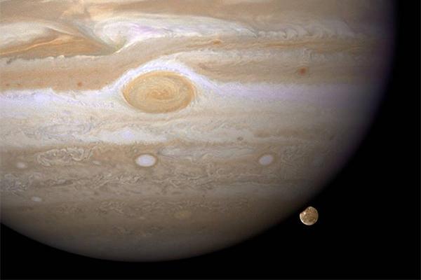 Jupiter and her largest moon, Ganymede