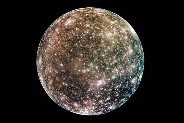 Jupiter's moon Callisto photographed by the Galileo spacecraft