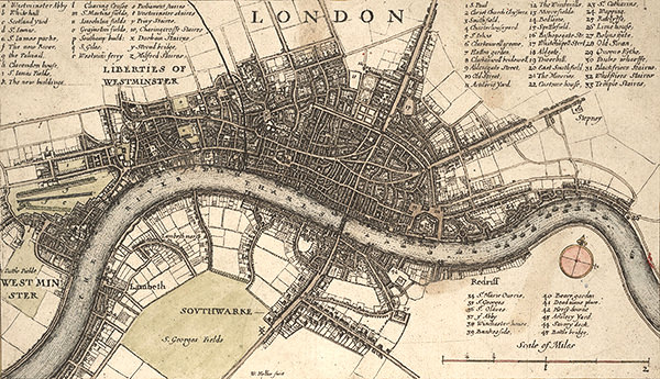 A map of London as it would have looked in 1666