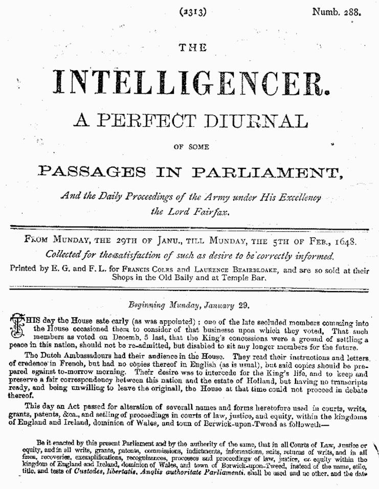 London Gazette 1648 report on the trial and execution of Charles I (page 1)