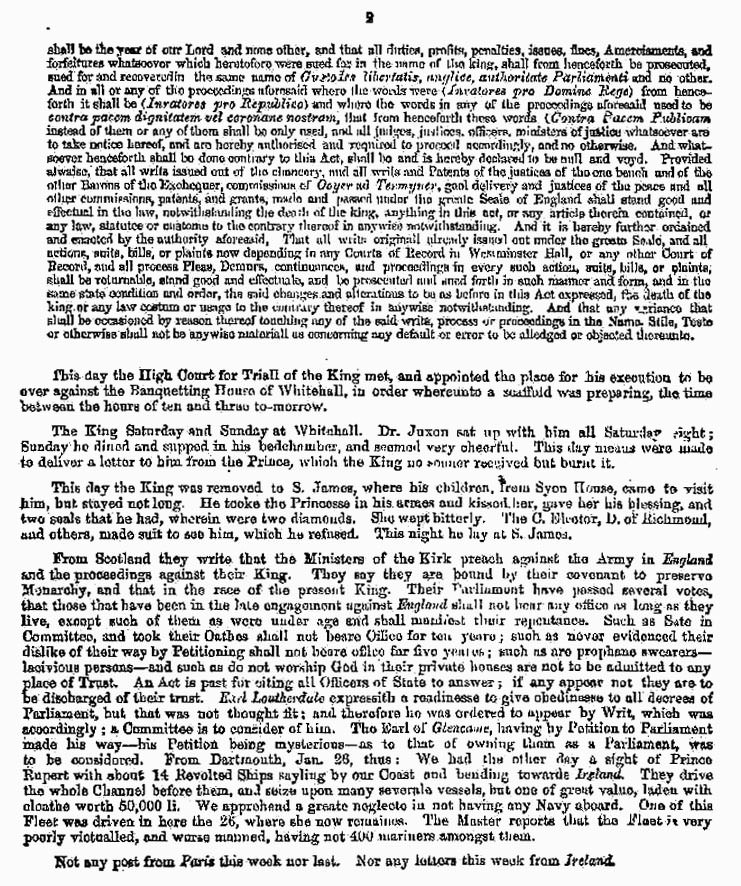 London Gazette 1648 report on the trial and execution of Charles I (page 2)