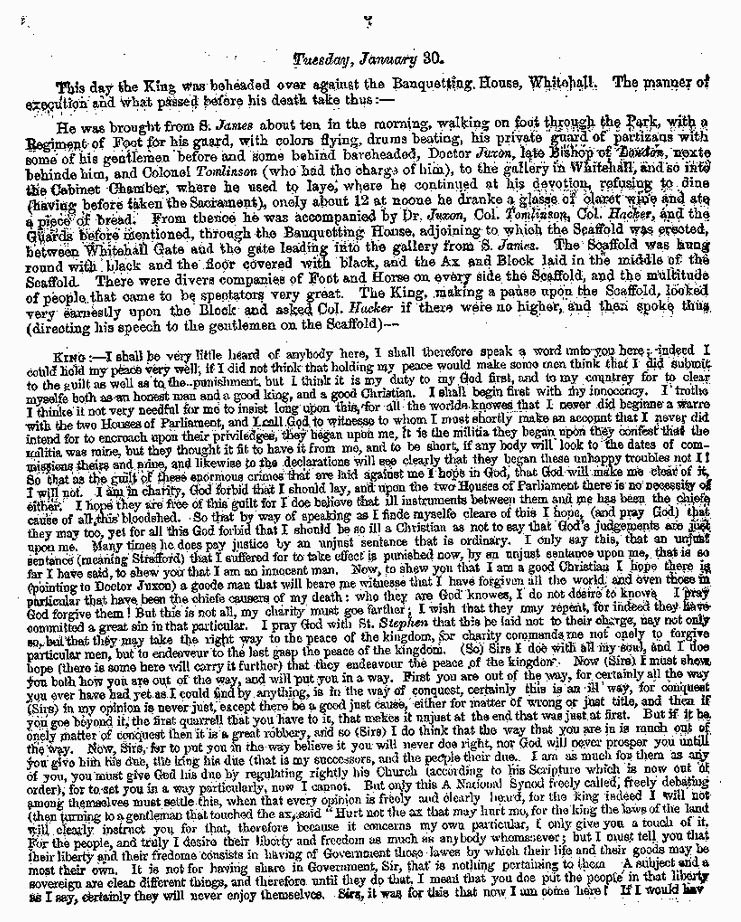 London Gazette 1648 report on the trial and execution of Charles I (page 3)