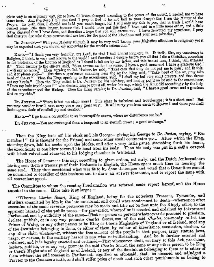 London Gazette 1648 report on the trial and execution of Charles I (page 4)