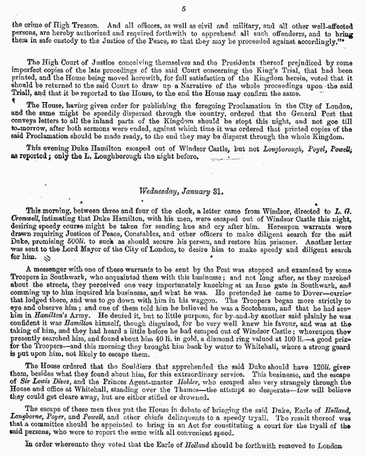 London Gazette 1648 report on the trial and execution of Charles I (page 5)