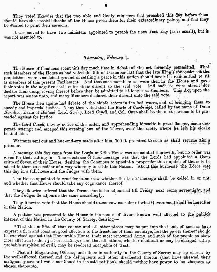 London Gazette 1648 report on the trial and execution of Charles I (page 6)