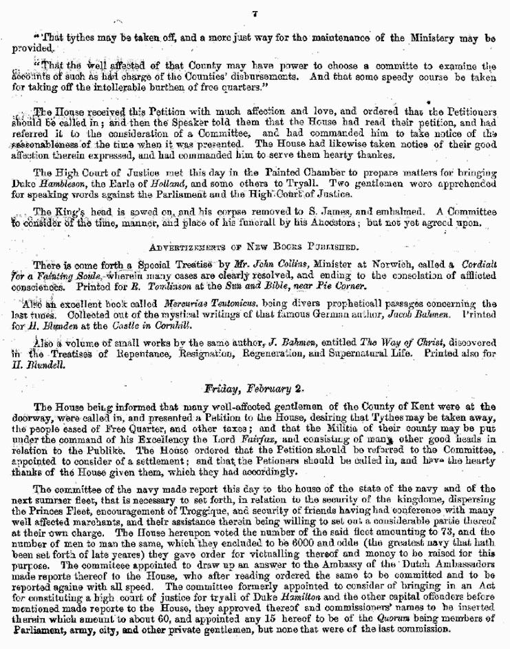 London Gazette 1648 report on the trial and execution of Charles I (page 7)