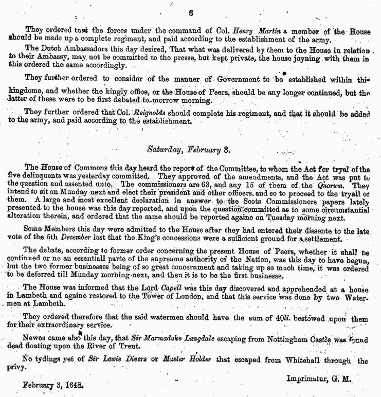 London Gazette 1648 report on the trial and execution of Charles I (page 8)