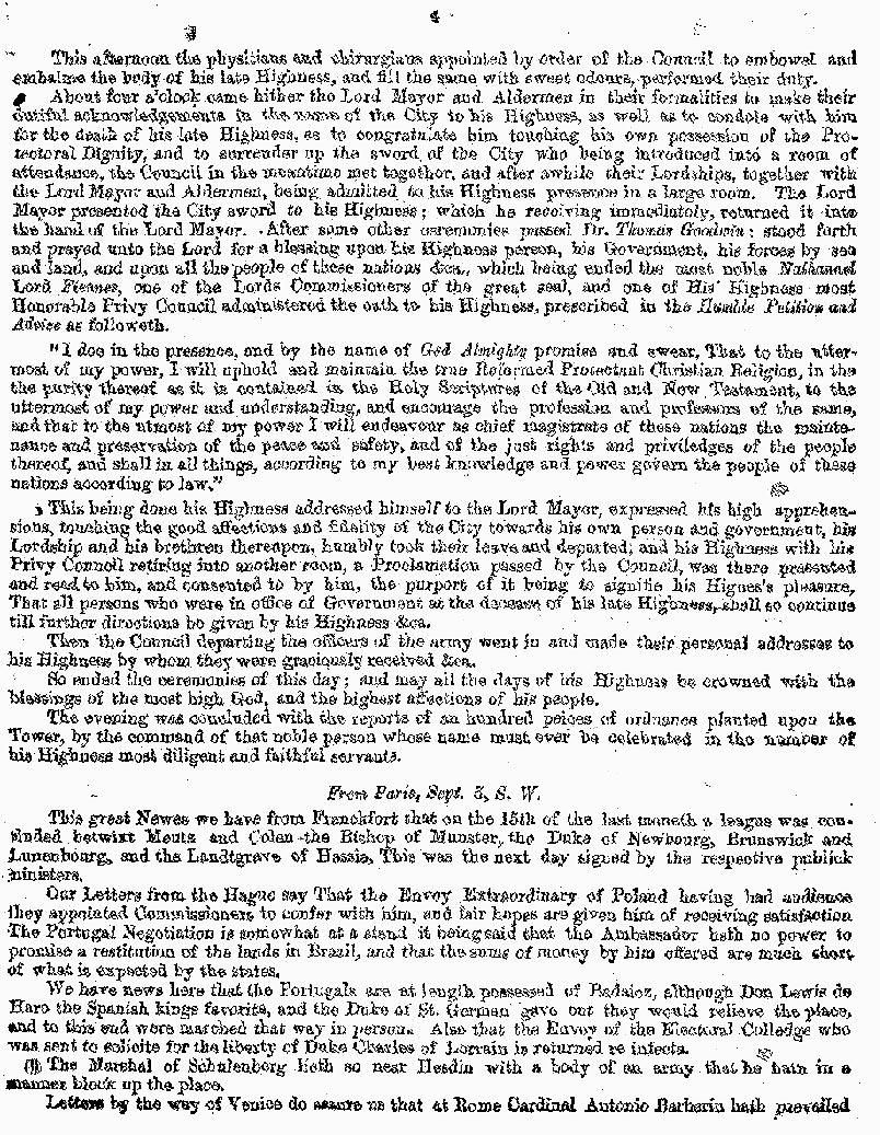 London Gazette 1658 report on the death of Oliver Cromwell (page 4)