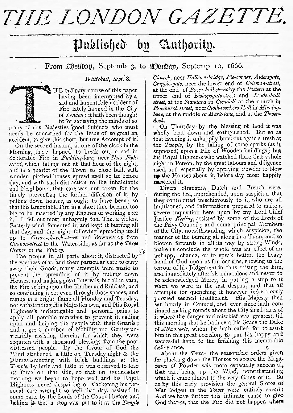 The London Gazette report on the Great Fire of London 1666, page 1