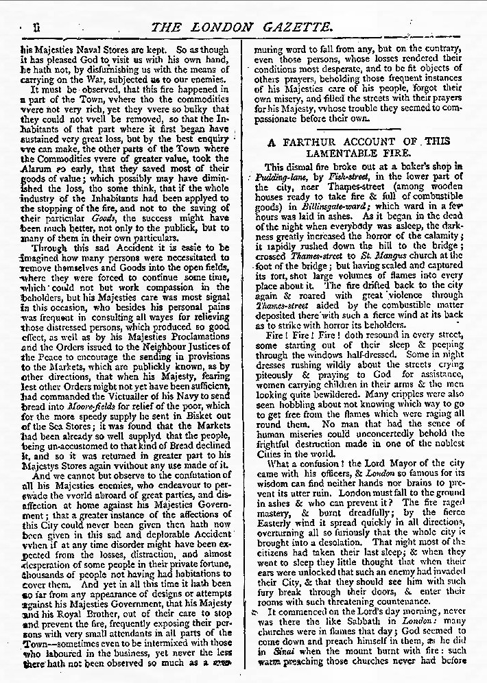 The London Gazette report on the Great Fire of London 1666, page 2
