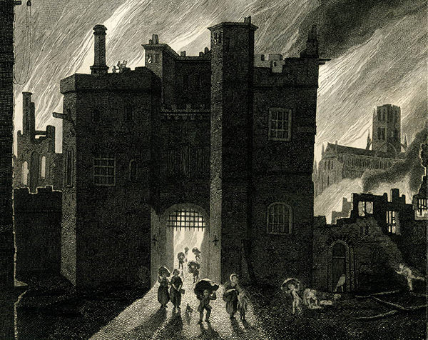 People flee with their belongings through Ludgate, with St Paul's Cathedral in the background. Detail from an engraving depicting the Fire of London by James Stow, produced between 1792-1823