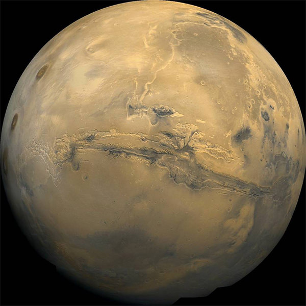 The Valles Marineris trench on Mars, captured by the Viking 1 and 2 Orbiters