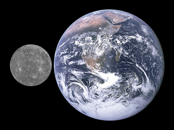 Mercury compared in size to Earth