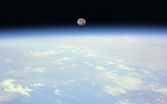 The Moon photographed from outside Earth's atmosphere