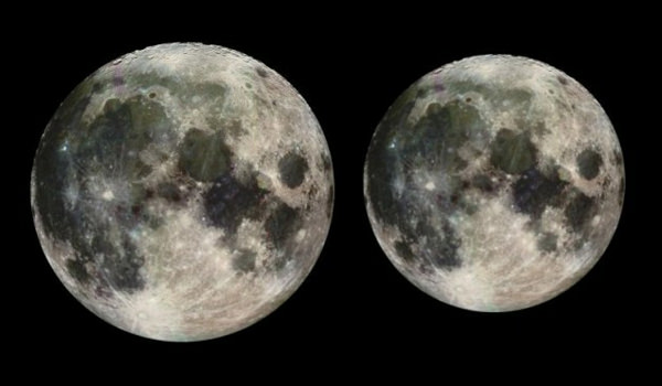 Comparison of the size of the moon at it's nearest and furthest points from Earth
