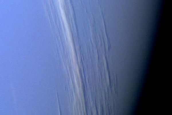 Cirrus clouds floating above Neptune