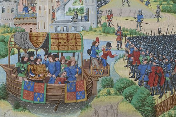 Richard II meeting the rebels during the Peasants Revolt of 1381 (detail from a miniature from a 1470s copy of Chronicles), Jean Froissart (c.1337–c.1405).
