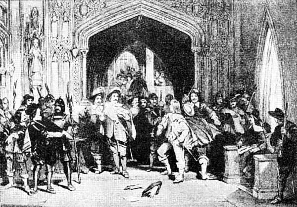 A contemporary engraving from circa 1652 depicting Colonel Thomas Pride denying entry to Presbyterian members of the Long Parliament