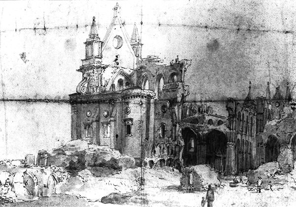 Sketch depicting the ruins of Old St Paul's, by Thomas Wyck, c.1673