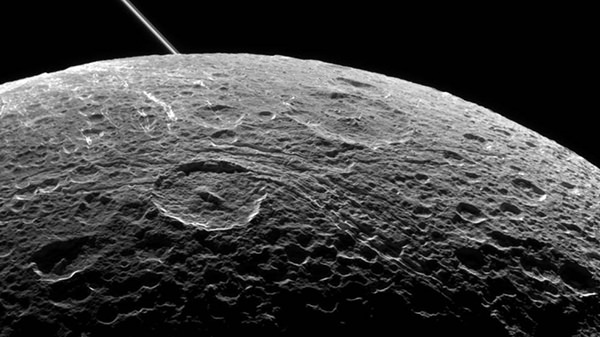 Saturn's moon Dione captured by Cassini