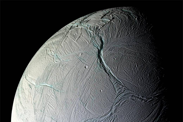 Saturn's moon Enceladus captured by the Cassini probe