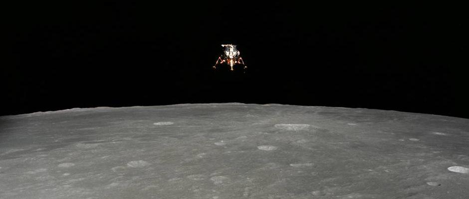 Space exploration - the Apollo 12 Lunar Module in lunar orbit