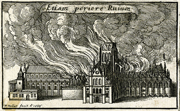 Etching depicting St Paul's Cathedral burning in the Great Fire of London, by Wenceslaus Hollar, 1666