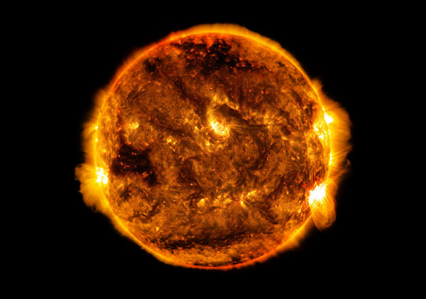 Solar flare erupting from the sun