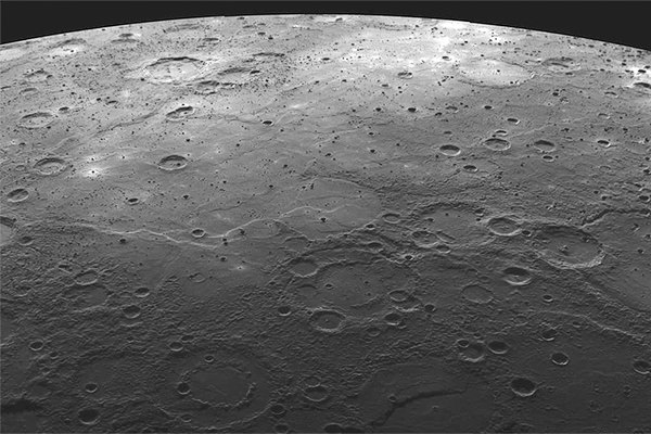 The cratered surface of Mercury, recorded by Messenger in 2008
