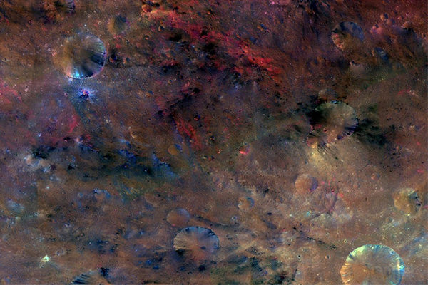 Colourful surface of Vesta captured in 2011 by the Dawn mission